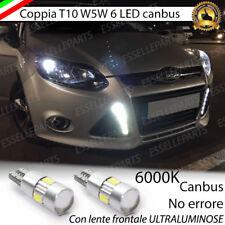 COPPIA LUCI POSIZIONE T10 6 LED CANBUS CON LENTE FORD FOCUS MK3 NO ERROR BIANCO