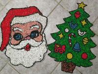 Vintage MELTED PLASTIC POPCORN Christmas Tree & Santa Face Decorations Lot of 2