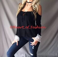 Sexy Boho Tie Front Cold Shoulder Crochet Lace Cuff Bell Sleeve Relaxed Fit Top