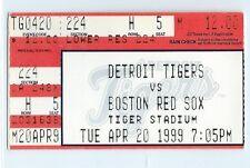 Pedro Martinez career win #87 ticket stub; Boston Red Sox at Tigers 4/20/1999