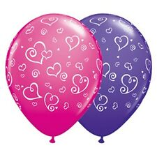 Party Supplies Wedding Love Swirl Heart Violet & Purple Latex Balloons Pack  10