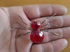 Rare vtg huge sterling red glass rhinestones Spider figural brooch jelly belly