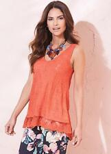 Coral Jacquard Lace Summer Vest Top, with Lace Dipped Hem Size 10 NEW