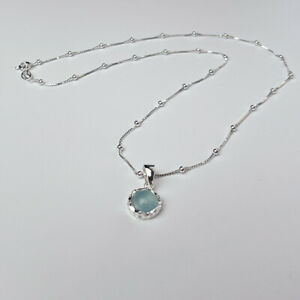 Minimalist sterling silver and blue chalcedony small bezel pendant necklace gift