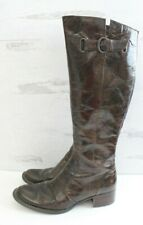 BORN Crown Womens Riding Boots Brown Crackle Leather Tall Zip Up Size US 8 EU 39