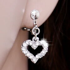 #E122H PAIR NON-PIERCED CLIP ON EARRINGS Dangle 12mm MINI Heart Clear Crystal
