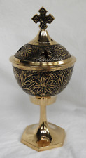 Large Engraved and Enamelled Chalice Style Brass Charcoal Incense Burner