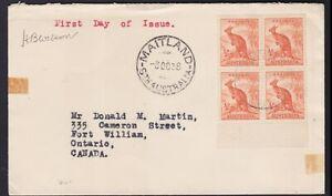 1938 1/2d Orange Roo Kangaroo Block of 4 Australia FDC MAITLAND NSW Cover