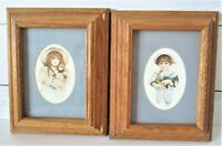 2 Jan Hagara Oak Framed Matted 1984 Prints JOE JOHN and girl with doll and hat