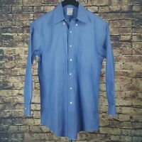 BROOKS BROTHERS Mens Solid Blue Dress Shirt 15.5-32 Regent Non Iron Supima