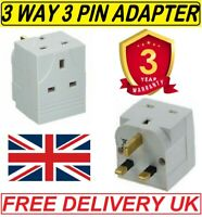 3 WAY 3 PIN ADAPTOR CONVERTER 13 AMP DOUBLE SOCKET HOUSEHOLD MULTI PLUG UK