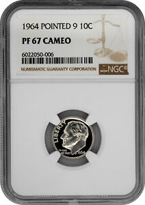 1964 Pointed 9 10C Proof Silver Roosevelt Dime NGC PF 67 Cameo