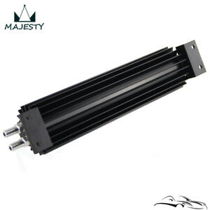 Universal 12'' Aluminum Dual Pass Finned Transmission Oil Cooler W/Fittings