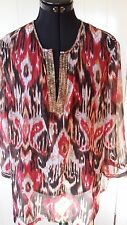 Chico's Kaftan style see through blouse Size 3 multi-coloured