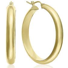 MCS Jewelry 14 Karat Yellow Gold Classic Half Round Hoop Earrings Diameter: 40mm