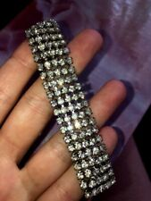 """Tone 6.5"""" Beautiful Icy Cocktail Jewelry Vintage 5 Row Clear Rhinestones Silver"""
