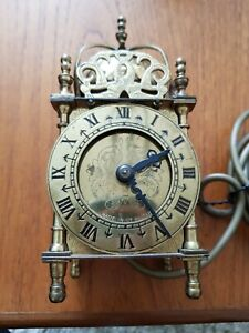Vintage Smiths Brass Electric Lantern Domed Carriage Mantel Clock, Working