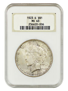 1923-D $1 NGC MS63 (OH) - Old NGC Holder - Peace Silver Dollar - Old NGC Holder