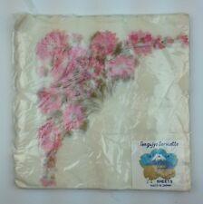 """24 NIP Vtg Japanese 14"""" Scalloped Paper Napkins Pink Flowers Tengujyo Serviette"""