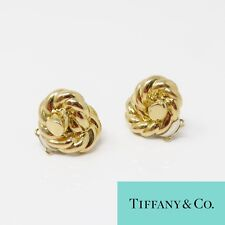 NYJEWEL Tiffany & Co. 18K Yellow Gold Knot Rope Large Clip On Earrings