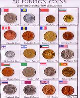 Lot 20pcs Different Countries Old Vintage World Coins AUNC set Laminated Details