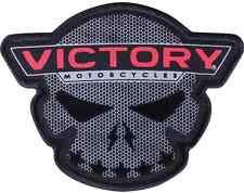 VICTORY MOTORCYCLES VIC SKULL PATCH TEXTURED BADGE 4 INCHES WIDE LOGO CROSS BIKE