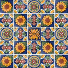25 TILES 4x4 MEXICAN TILES CERAMIC HANDMADE TALAVERA SET #127