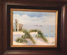 Vintage Oil Painting Artist Signed Lighthouse Birds Seascape