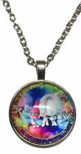 Domed Pendant Necklace Trolls Group Colorful Glass
