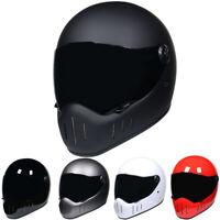 DOT Fiberglass Motorcycle Helmet Full Face w/Smoke Sun Visor Motocross Racing