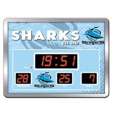Cronulla Sharks NRL Glass SCOREBOARD LED Clock Date Time Temp Man Cave Gift 8KL