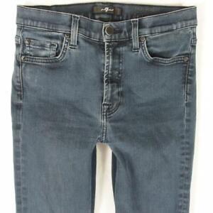 7 for All Mankind HIGH WAIST SKINNY Stretch Slim Blue Jeans W28 L30 Size 8