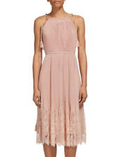 Whistles Lilian Pleated Lace Mix Dress Pink Size 10 RRP £249