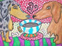 LONG HAIRED DACHSHUND Drinking Coffee Dog Pop Vintage Art 8 x 10 Signed Print