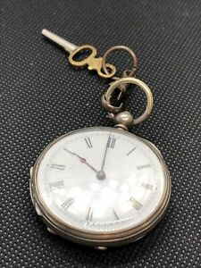 Antique 1900s English Solid Sterling Silver Pocket Watch with One Key Winds Runs