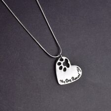 Heart Paw Print Necklace Silver My Dog Rescued Me  ANIMAL RESCUE DONATION