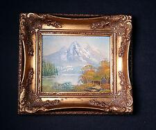 Antiguo original Pintura en miniatura Pintura al óleo,firmado OSBERT Lago alpino