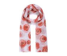 Ladies Womens Girls Fashion Scarf White & Red Poppy Print Brand New
