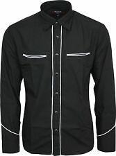 Relco Plain Black Western Cowboy with White Piping Long Sleeved Shirt