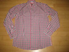 Trachtenhemd Falko von Marjo in blau-rot-weiß-kariert mit Print Gr.M+L+XL,reduz.