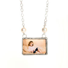 Freshwater pearl custom photo necklace keepsake memory glass personalized charm