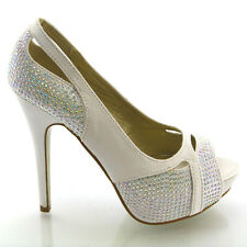 NEW WOMENS DIAMANTE BRIDAL HEELS LADIES PLATFORM EVENING PROM WEDDING SHOES SIZE