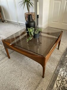 Danish Square Teak & Rattan Smoked Glass Coffee Table MCM Mid Century Modern