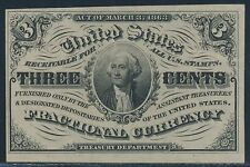 FR1226 3¢ W/ LIGHT BACKGROUND TO PORTRAIT CU CHOICE FRACTIONAL CURRENCY BR4689