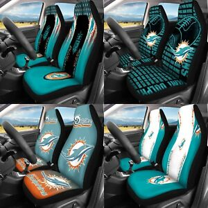 Set of Two Miami Dolphins Car Seat Covers Universal Fit Auto Cushion Protectors