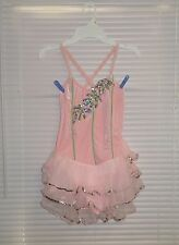 ART STONE Ice Figure Skating COMPETITION Halter Velvet Dress Ruffles SA PINK