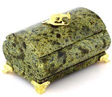 "Russian Green Serpentine Stone Jewelry Casket Trinket Storage Box Handmade 4"""