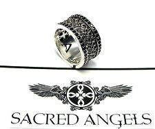 Men's Designer Eternity Double Row Black Diamond Ring By Sacred Angels