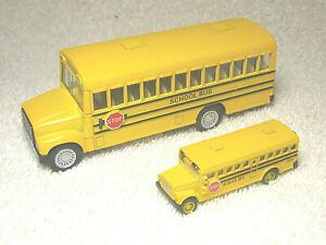 "5"" PULL BACK & GO DIECAST SCHOOL BUS WITH MINI 2 3/8"" DIECAST BUS - EXCELLENT"
