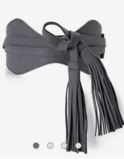 NWT White House Black Market Reversible Gray Tassel Obi Belt Size XL
